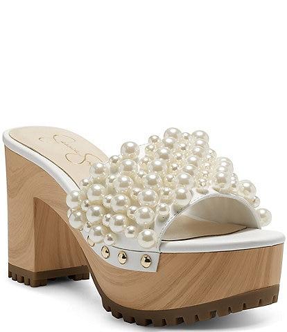 Jessica Simpson Telina2 Pearl Banded Platform Slides