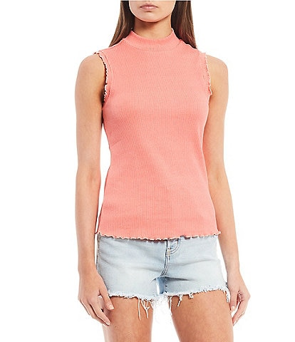 Jessica Simpson Valerie Mock Neck Sleeveless Ribbed Knit Top