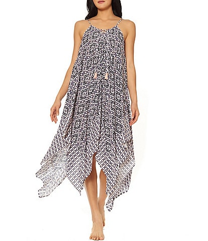 Jessica Simpson Venice Beach Geometric Print Lace Front Handkerchief Hem Dress Cover Up