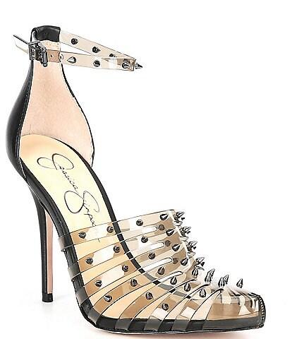 Jessica Simpson Westah Clear Vinyl Studded Ankle Strap Pumps