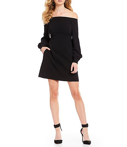 Jill Jill Stuart Off-the-Shoulder Long Bishop Sleeve Crepe Mini A-Line Dress