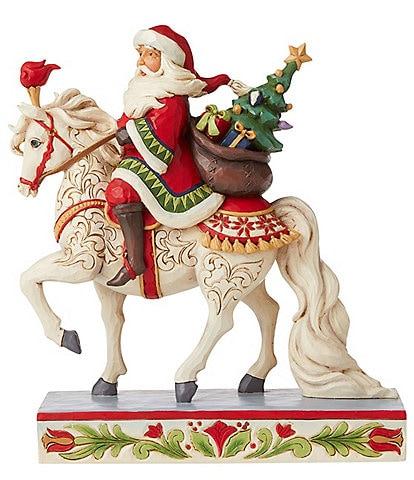Jim Shore Heartwood Creek Santa Riding White Horse Figurine