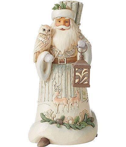 Jim Shore Heartwood Creek White Woodland Collection Walking Santa With Owl/Lantern Figurine