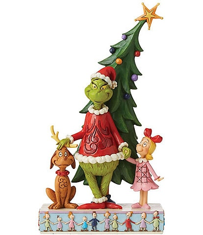 Jim Shore The Grinch Collection - Grinch, Max And Cindy by Tree Figurine