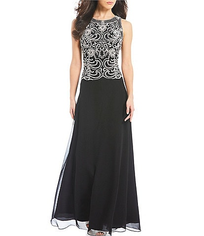 Jkara Beaded Bodice Chiffon Gown
