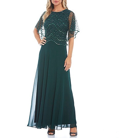 Jkara Beaded Bodice Round Neck Short Flutter Sleeve A-Line Gown
