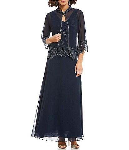 Jkara Beaded Bodice Jacket Dress