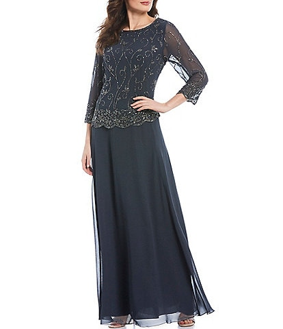 Jkara Beaded Pop Over Mock Two Piece Gown