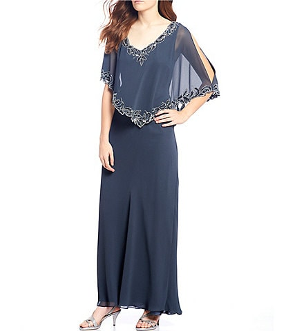 Jkara Beaded Trim Popover Gown