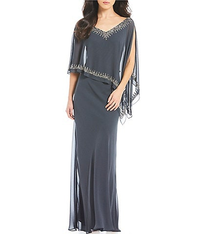 Jkara Beaded V-Neck Popover Chiffon Gown