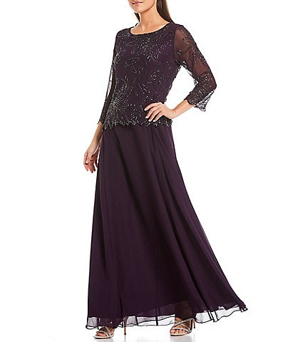Jkara Boat Neck 3/4 Sleeve Floral Beaded Chiffon Gown