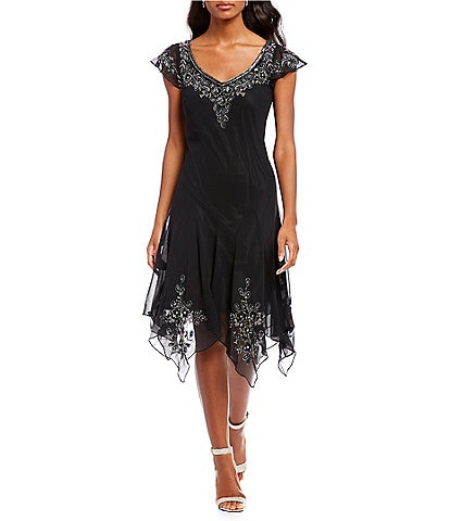 Jkara Cap Sleeve Beaded Applique Dress
