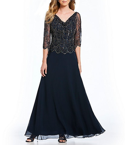 Jkara Cowl Neck Beaded Bodice Chiffon Gown