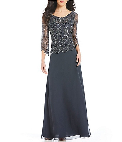 Jkara Cowl Neck Sequin Bodice Chiffon Gown