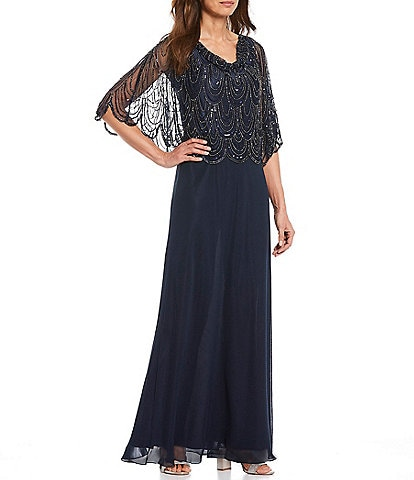 Jkara Drape Neck Beaded Bodice Popover Cape Scallop Hem Gown