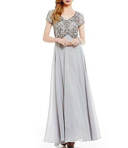 Jkara Floral Beaded Bodice Chiffon A-Line Gown