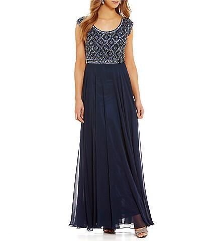 Jkara Petite Cap-Sleeve Beaded Bodice Gown