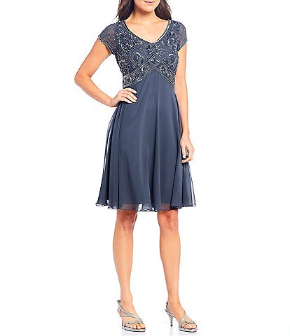 Jkara Petite Size Beaded Bodice A-Line Chiffon Dress