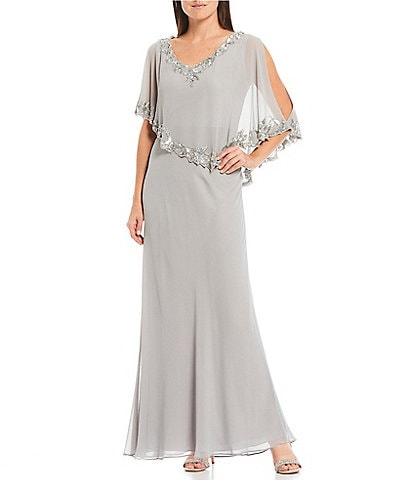 Jkara Petite Size Beaded Sequin V-Neck Capelet Popover Gown
