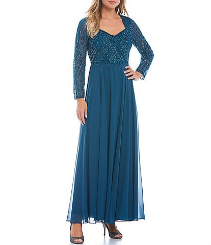 Jkara Petite Size Long Sleeve Lined Sweetheart Neck Beaded Gown