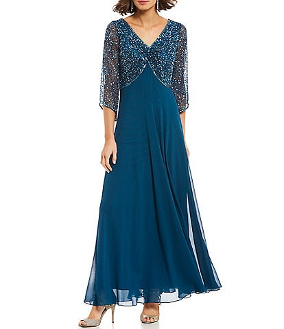 Jkara Petite Size Sequin V Neck Gown