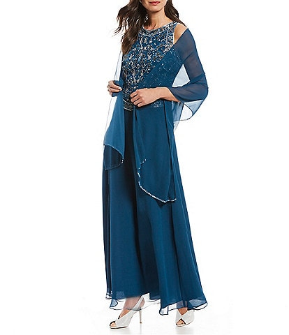 Jkara Petite Size Sleeveless Beaded Bodice Long Gown
