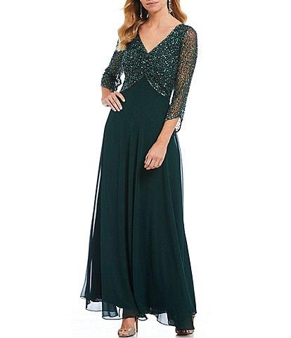 Jkara Petite Size V-Neck 3/4 Sleeve Beaded Bodice Long Gown