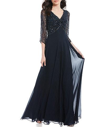 Jkara Petite Size V-Neck 3/4 Sleeve Beaded Bodice Gown