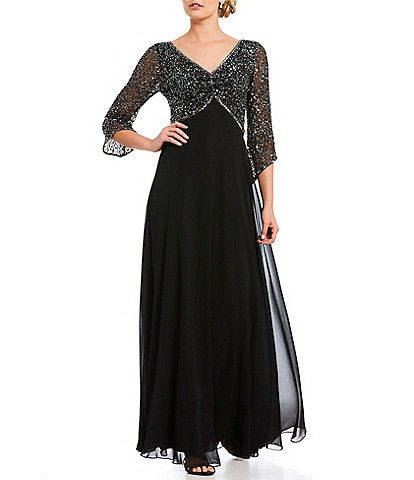 Jkara Petite V Neck Beaded Top Bodice Gown