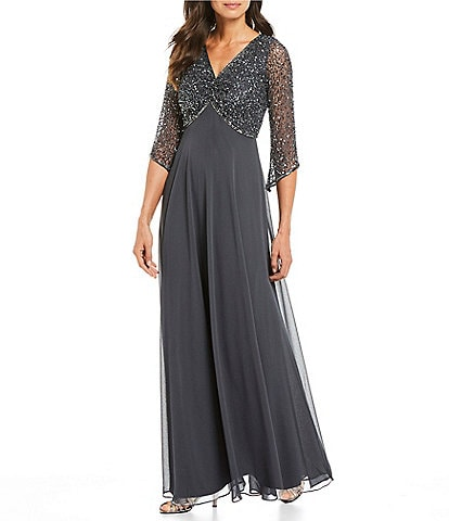 Jkara Petite Size V-Neck 3/4 Sleeve Beaded Bodice Gown