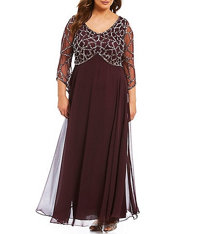 Jkara Plus Sequined V-Neck Gown