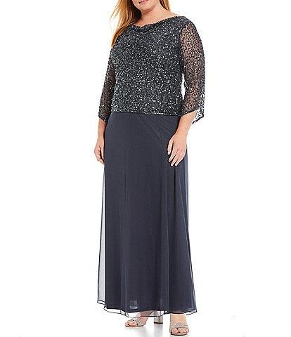 Jkara Plus Size 3/4 Illusion Beaded Cowl Neck Gown