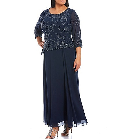 Jkara Plus Size 3/4 Sleeve Beaded Bodice Gown