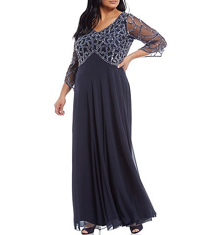 Jkara Plus Size 3/4 Sleeve V-Neck Beaded Gown