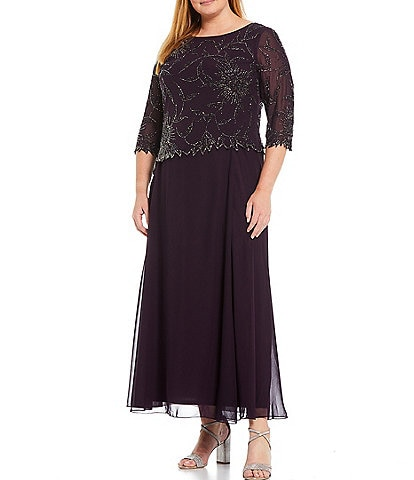 Jkara Plus Size 3/4 Sleeve Round Neck Beaded Gown