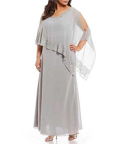 Jkara Plus Size Beaded Asymmetric Popover Gown