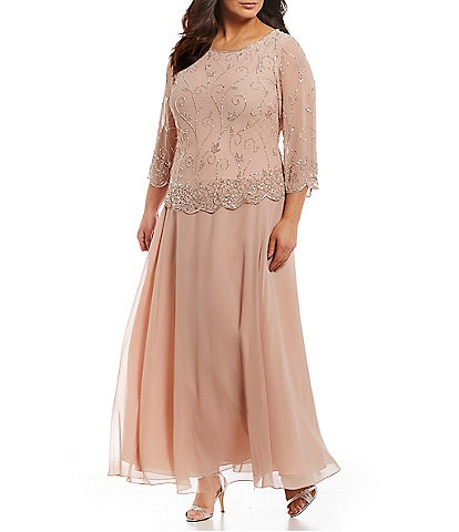 Jkara Plus Size Beaded Bodice Chiffon Gown