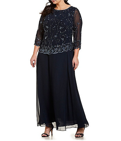 b00220913a780 Jkara Plus Size Beaded Scalloped Bodice 3 4 Sleeve Chiffon Gown