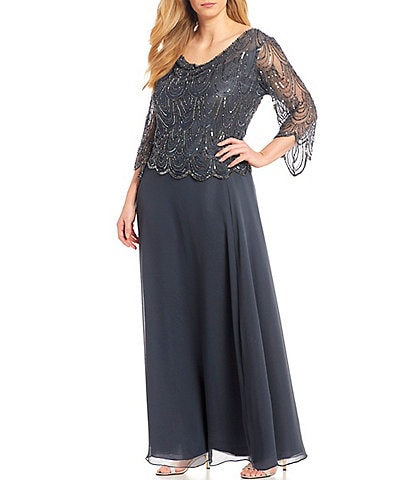 Jkara Plus Size Cowl Neck 3/4 Sleeve Beaded Bodice Chiffon Gown