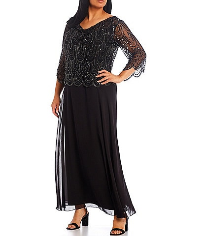 Jkara Plus Size Cowl Neck Scallop Beaded Bodice Gown