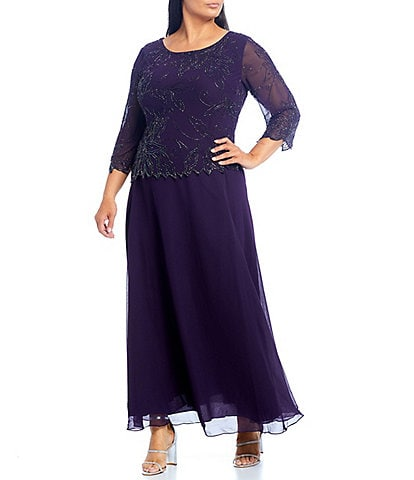 Jkara Plus Size Scoop Neck 3/4 Sleeve Beaded Bodice Gown