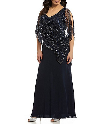 Jkara Plus V-Neck Beaded Bodice Capelet Gown