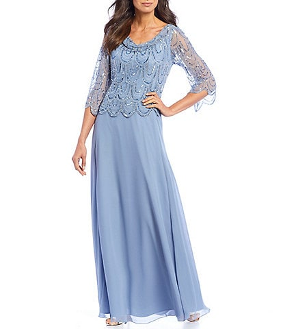 Jkara Sequin Chiffon Cowl Neck Scalloped Beaded Gown