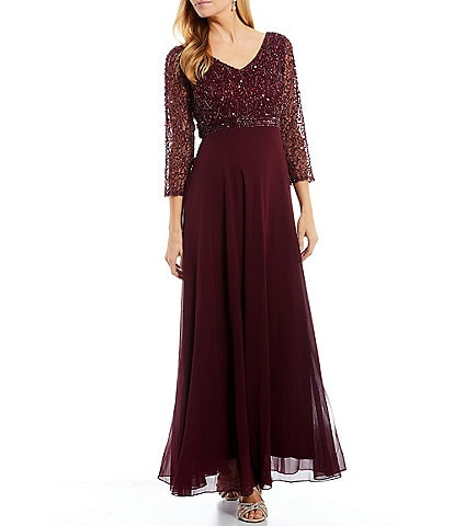 Jkara V-Neck 3/4 Sleeve Sequin Bodice Lined Empire Gown