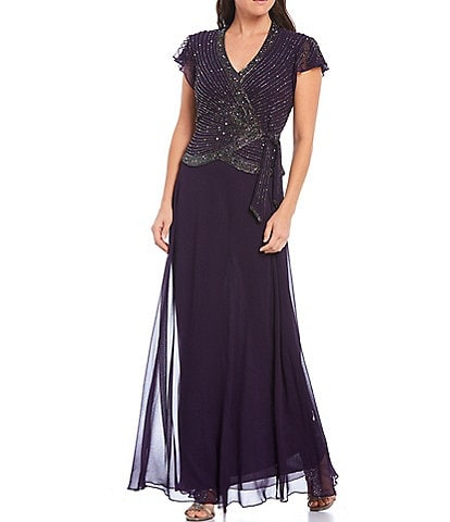 Jkara V-Neck Cap Flutter Sleeve Beaded Stripe Bodice Chiffon Gown