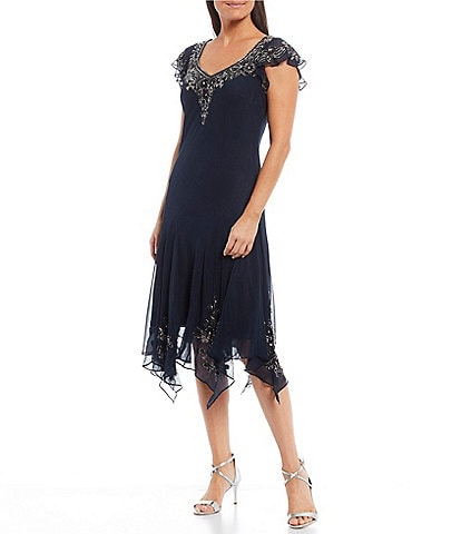 Jkara V-Neck Cap Sleeve Floral Beaded Applique Asymmetric Hem Chiffon Dress