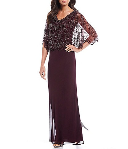 Jkara V-Neck Scalloped Beaded Popover Gown
