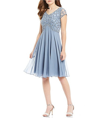 Jkara V-Neckline Sequin Bodice Cap Sleeeve Dress