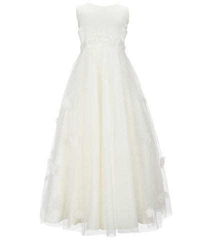 Joan Calabrese Big Girls 7-14 Sleeveless Satin & Tulle Long Dress