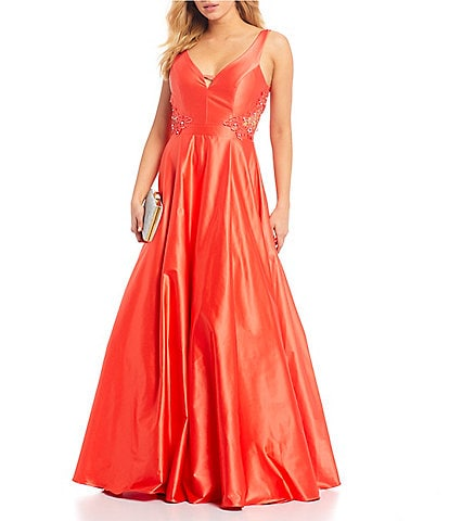 City Vibe Crochet Side Inset Satin Ball Gown